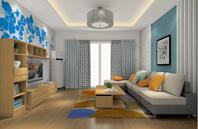 蓝色花色电视背景墙设计图