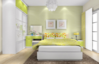 绿色与白色相搭配卧室效果图