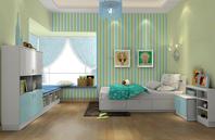 蓝绿白打造温馨儿童房效果图