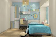 干净、纯洁的蓝色儿童房效果图