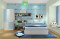 以海水蓝浪花白为主调的儿童房效果图