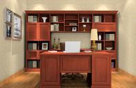 与现代中式风格装修设计的书房效果图