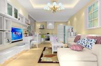 田园风格客厅厨房一体装修设计效果图