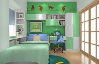 绿色森林儿童房装修效果图2012