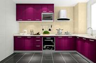 惊艳紫色L型厨房装修效果图
