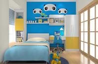 蓝色熊猫儿童房效果图