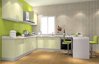 大爱绿色U型厨柜厨房效果图
