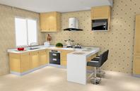 米黄色空间色彩U型厨房