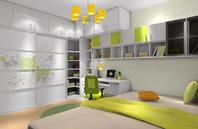 清新时尚绿色卧室装修图片