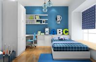 海蓝色青少年房效果图