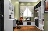 淡绿色干净高雅的书房装修效果图