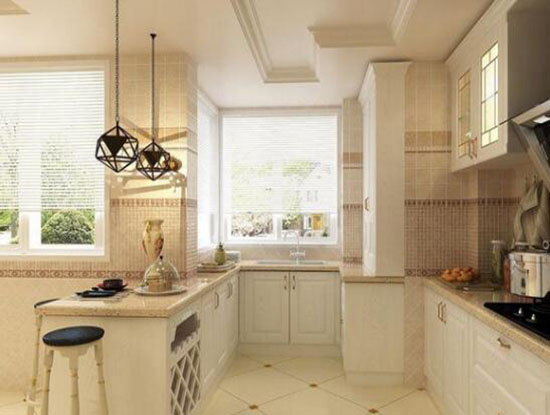 厨房间瓷砖装修效果图,敞亮而舒适