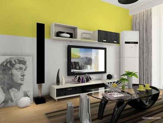简约风格电视墙效果图,高档又大方