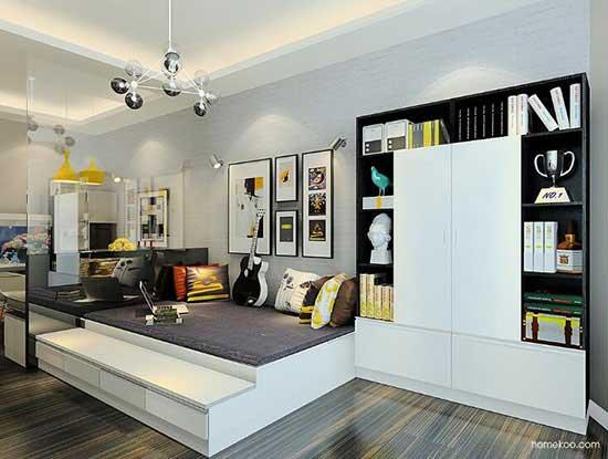小客厅兼书房效果图,很实用的!