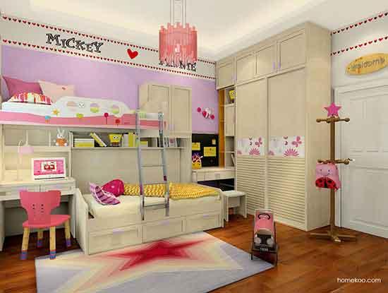 儿童高低床效果图,一点也不浪费空间