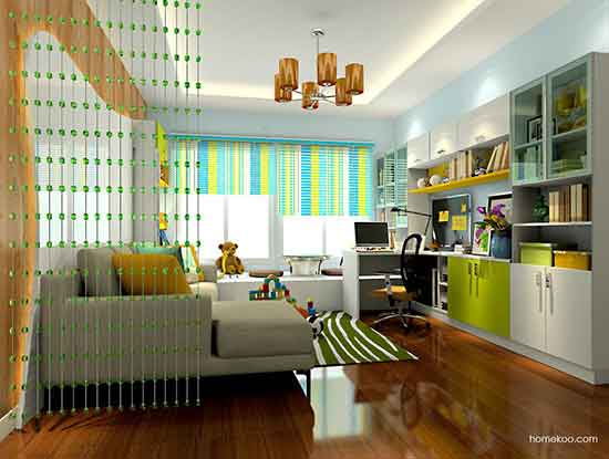 客厅兼书房设计效果图,实用方便