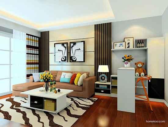 沙发背景墙装修图,清新而舒适