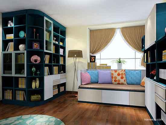 客厅兼书房装修效果图大全,简约而纯粹的空间