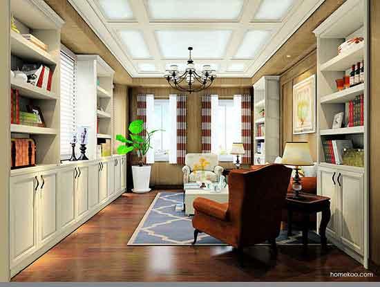 美式书房装修效果图,空间利用的太好了!
