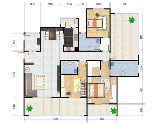 洋房B2户型三层3室2厅3卫1厨151.00�O