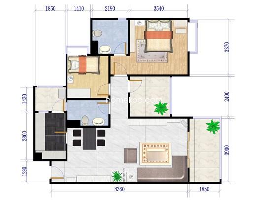 4、5栋03、04,6栋04、7栋02户型2室2厅83.88�O