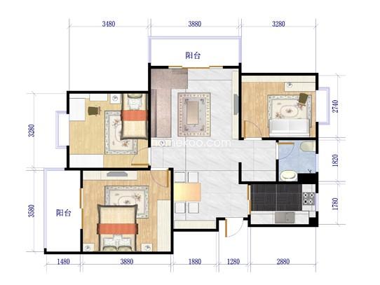 9号楼A户型3室2厅1卫1厨108.88�O
