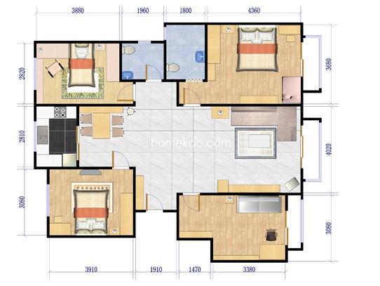 H户型 4室2厅2卫1厨154.76�O