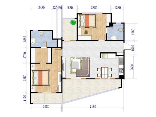 C户型2室2厅2卫1厨119.96�O