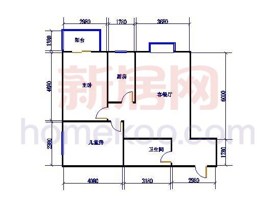 F户型图2室1厅1卫1厨88.62�O