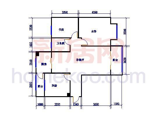 2号楼B2c户型3室2厅1卫1厨99.38�O