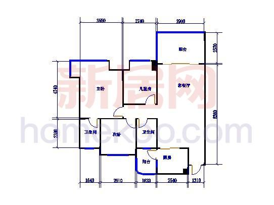 2号楼2单元D、E3室2厅2卫1厨112.00�O