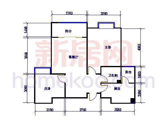 标准层A3户型2室2厅1卫1厨98.74�O