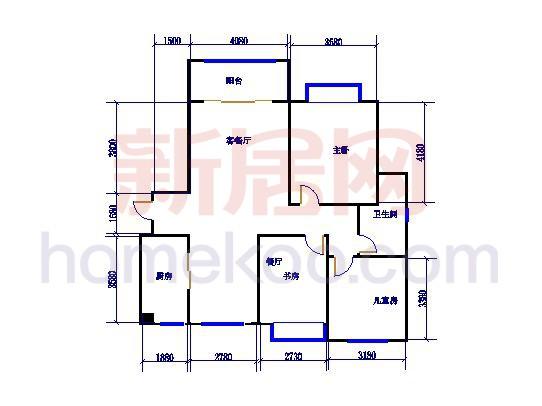 标准层A1户型3室2厅1卫1厨131.04�O