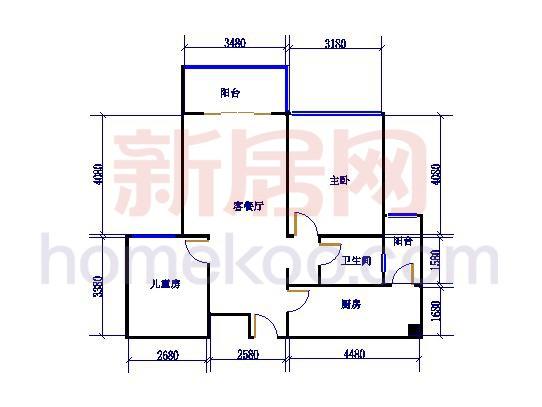 7号楼标准层A2户型2室2厅1卫1厨86.00�O