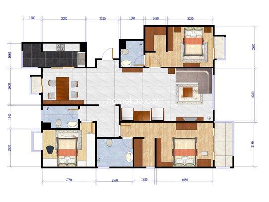 1-C5户型图3室2厅3卫1厨174.74�O