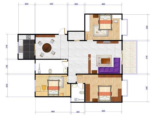 d-d户型3室2厅2卫1厨133.70�O