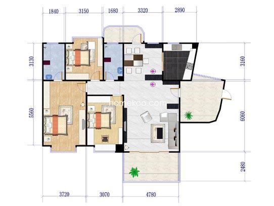 一号楼1单元B户型3室2厅2卫151.35�O