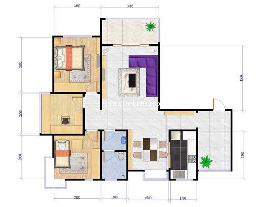 G户型3室2厅2卫133.00�O