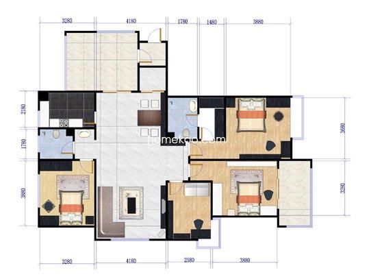 南区9#楼奇数A户型4室2厅2卫1厨165.00�O