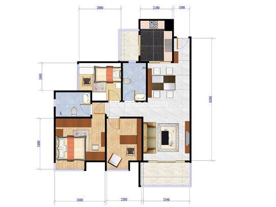 4栋02单元户型图3室2厅2卫1厨98.19�O