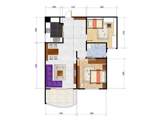 海景洋房2号楼B1户型2室2厅1卫1厨77.35�O
