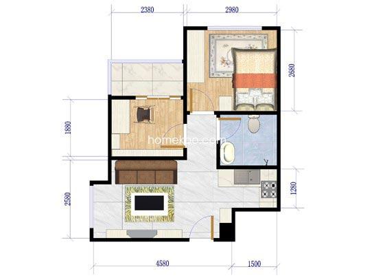 A户型图2室1厅1卫1厨