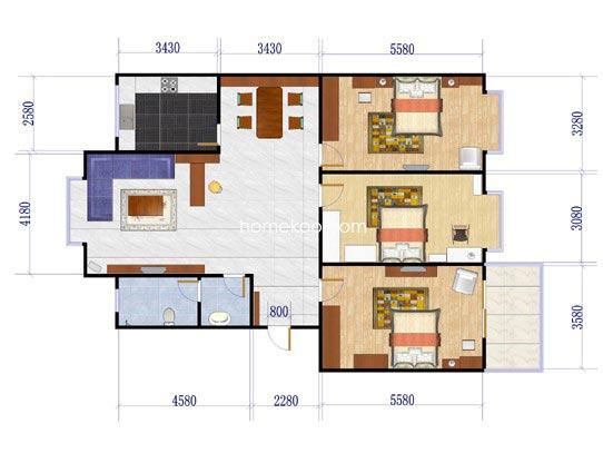 悠然领地多层3室2厅1卫1厨113.8�O
