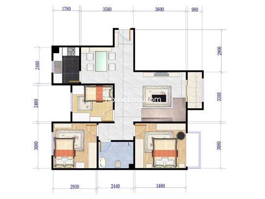 C1户型3室2厅1卫1厨90.00�O