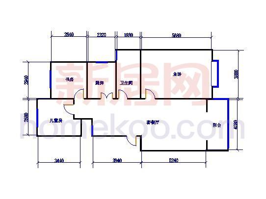 A8户型图3室2厅1卫1厨 89.25�O