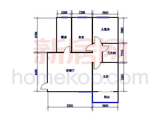 3#楼3室2厅1卫1厨 88.77�O