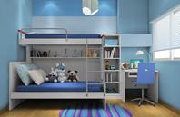 现代简约风格双层儿童床卧室效果图