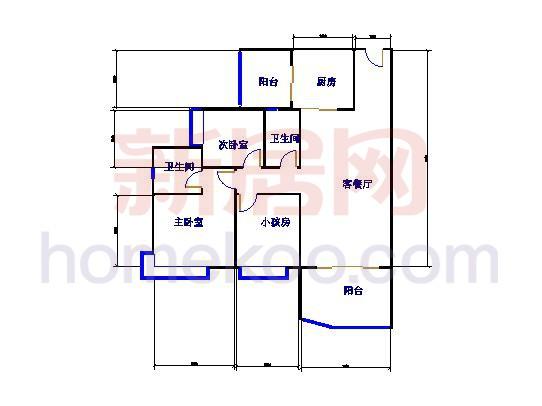 A8号楼2-13层02单元3室2厅2卫1厨 99.79�O