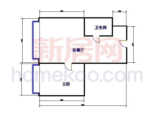 C北单元 5-7层平面图(18宽)1室1厅1卫1厨