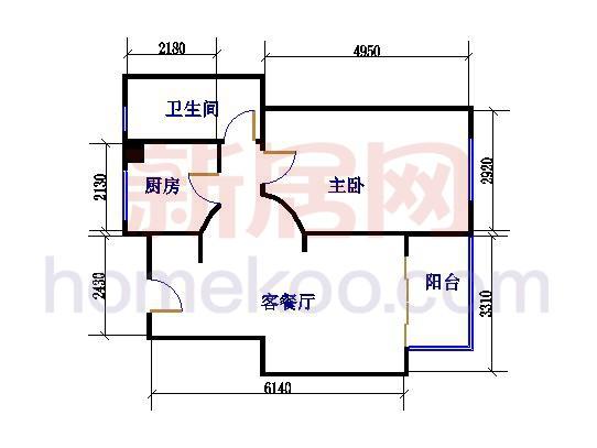 A-2户型图1室1厅1卫1厨 65�O